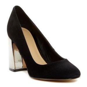 Mirrored Block Heel Black Dress Mary Jane Pumps